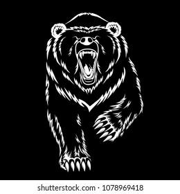 Vector image of a polar bear on a black background.