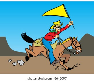 vector image of pony express rider on horse in the west carrying a yellow flag