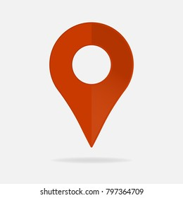 Vector image  positioning on the map. Mark GPS icon. Red icon location drop pin on a light background