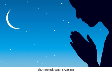 Vector image of the praying person against the background of the night sky with a crescent moon and stars