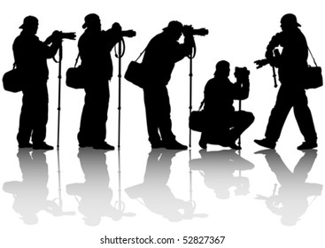 Vector image of the professional photographer with a camera on a monopod