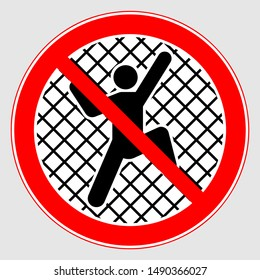 "Vector Image Of The Prohibition Sign ""Do Not Climb"". No Climbing Sign."
