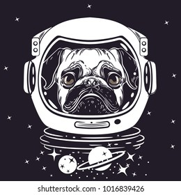 vector image of a pug in an astronaut's helmet. Portrait of a dog. Sample print for T-shirts. Space Vector Illustration
