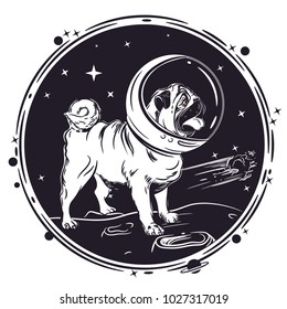 vector image of a pug in an astronaut's helmet. Portrait of a dog. Sample print for T-shirts.