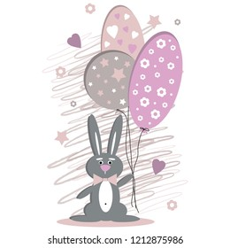 the vector image of a rabbit with balloons in pastel tones