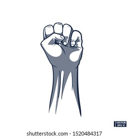 Vector image. Raised fist. Clenched fist held in protest. Revolution Fist Raised In The Air.