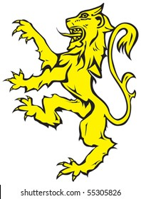 Vector image of rampant lion