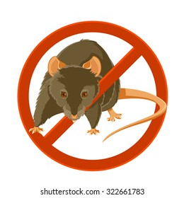 Vector image of a rat in the disable sign