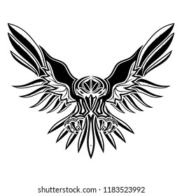 The vector image of a raven with open wings. Sacred Celtic symbol. Sign of Vikings. Black tribal animals tattoo. Vector illustration.