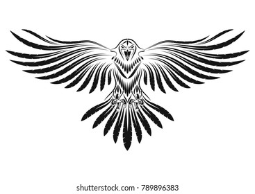 The vector image of a raven with open wings.Tribal animals tattoo.Vector illustration.