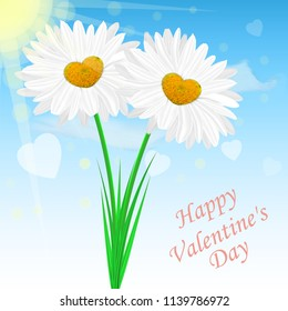 Vector image of realistic chamomile flowers on the background of the sky. Congratulatory Valentine's Day card