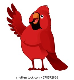 Vector image of a red cartoon cardinal