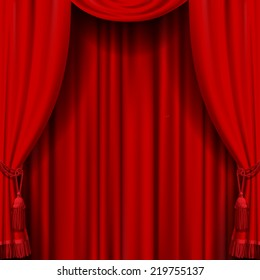 Vector image of red curtain. Square theater background. Artistic poster