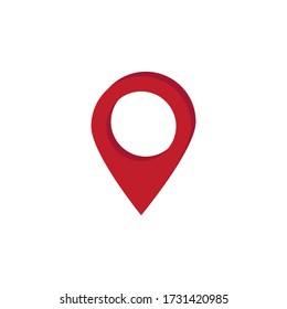 vector image of red gps label on map