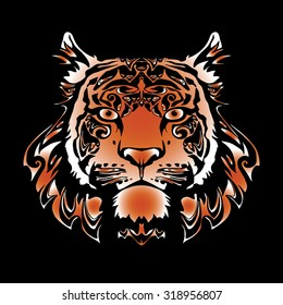 vector image red tiger for design