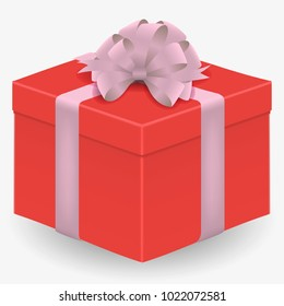 Vector image of a reelistic, red, closed box dressed with pink ribbon with a bow on a white isolated background.