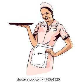 Vector image retro diner waitress