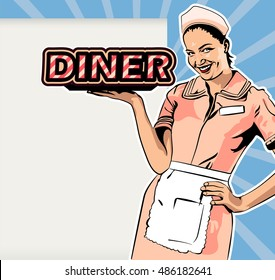 """Vector image retro style diner waitress design template. Waiteress hold lettering """"Diner"""". Copy space frame on a backdrop."""