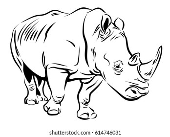 Vector image of a rhino