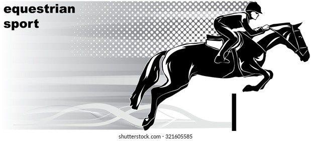 Vector image of a rider on a horse.It is drawn in the style of engraving.