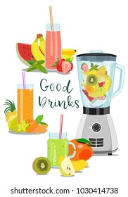 Vector image of ripe fruit and jars with fresh smoothies near blender on white background. Juice detox. Good drinks. Strawberry, mango, banana, pineapple, watermelon, kiwi, mint, mandarin.