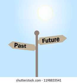 A vector image of a road sign with the direction of the past and the future. Illustration of a life path concept