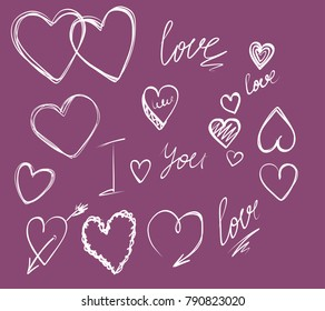 vector image romance. hearts, love, valentine's day. hand drawing