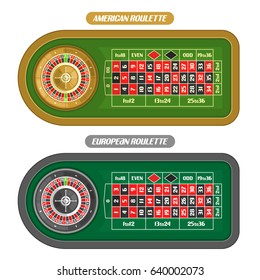 Vector image of Roulette Table: golden Wheel with double zero top view, european and american roulette table with silver wheel isolated on white background for online gambling games
