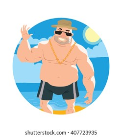 Vector image of a round frame with yellow sand, blue sea, sky and with cartoon image of big man in black shorts, sunglasses, panama hat and with gold chain in the center on white background. Vacation.