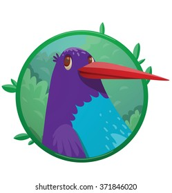 Vector image of a round green frame with leaves and with cartoon image of head of funny fantasy beautiful tropical bird with bright purple-blue feathers and long beak in center on a white background.