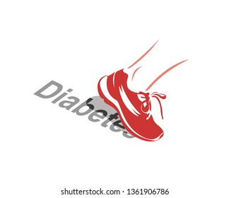 Vector image of a running shoe stepping off the word Diabetes - the role of exercise in Diabetes management or prevention