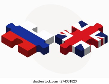 Vector Image - Russian Federation and United Kingdom Flags in puzzle isolated on white background