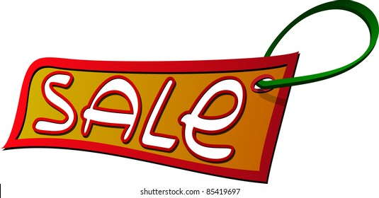A vector image of a sale label. All objects are separated, the can be scaled, edited or recolored for 5 minutes
