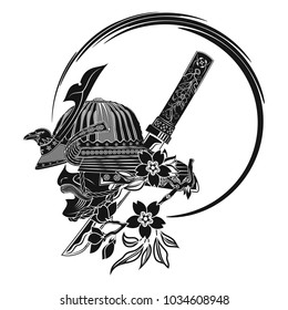 The vector image of a samurai helmet with the head of a raven, a branch of an Oriental cherry and dagger. Vector illustration.