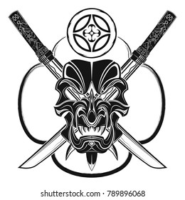 The vector image of a samurai mask against the background of two swords and the Japanese symbol.  Japanese demon tattoo. Vector illustration.