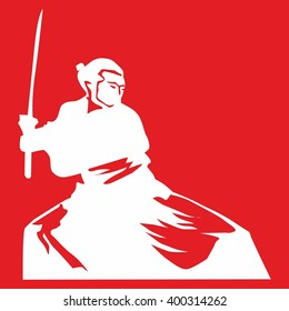 Vector image of a samurai with a sword on a red background