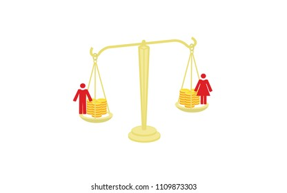 Vector image of scales with coins and a man and woman