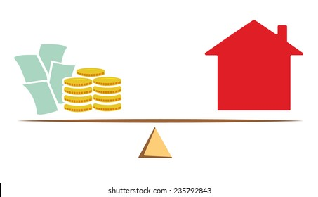 Vector image of scales with money and a house
