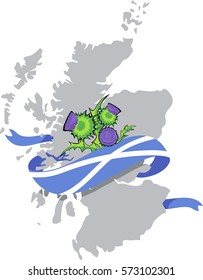 vector image of Scotland map with Scottish flag and thistle flowers