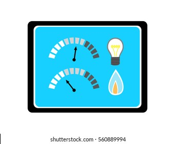 Vector image of a screen with light bulb, gas flame and indicators