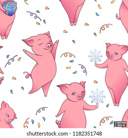 Vector image. Seamless pattern of New Year's pigs. Lovely pink piggy with gifts and snowflake, and cofetti.