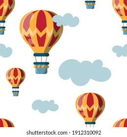 Vector image. Seamless repeating pattern of a fun air balloon.