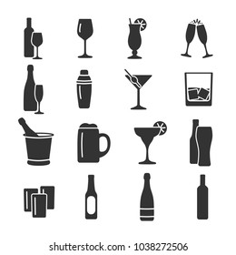 Vector image set of alcohol icons.