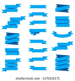 Vector image set of blue ribbons banners.