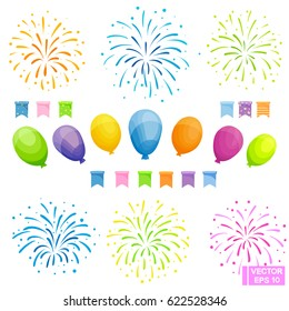 Vector image. Set of celebration festive elements. Colored balloons, flags and fireworks