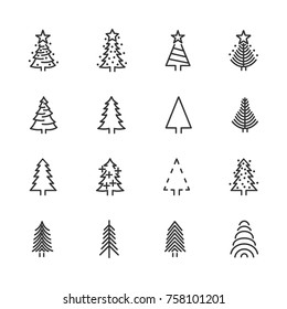 Vector image of set of Christmas trees line icons.