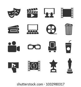 Vector image set of cinema icons.