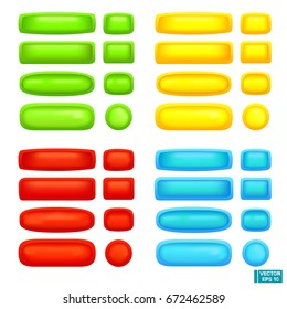 Vector image. A set of colored buttons of different shapes.