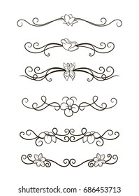 Vector image. A set of curls and scrolls. Dividers patterns with butterflies and flowers. Decorative elements for frames.