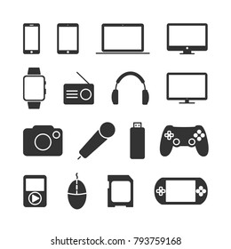 Vector image of a set of device icons.